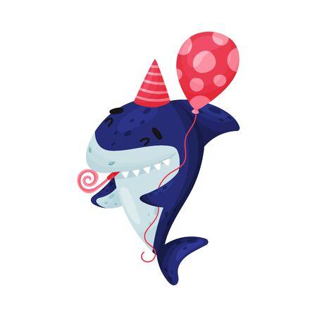 Cartoon shark celebrates birthday. Vector illustration on white background. Vetores