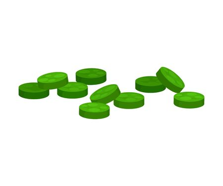 Lots of green pills. Vector illustration on white background.