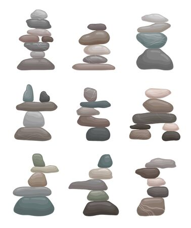 Set of towers of smooth stones. Vector illustration on white background. Иллюстрация