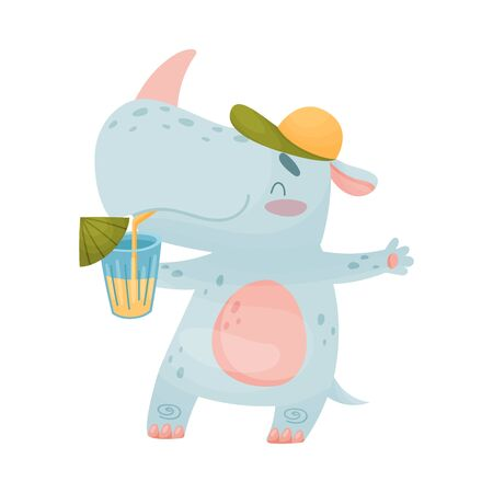 Humanized rhino in a cap drinks a cocktail from a straw. Vector illustration on white background. Иллюстрация