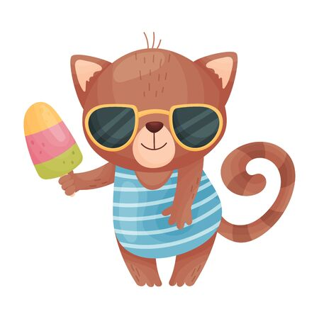 Humanized cat keeps ice cream on a stick. Vector illustration on white background.