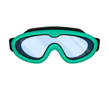 Turquoise mask for swimming. Front view. Vector illustration on white background. Иллюстрация