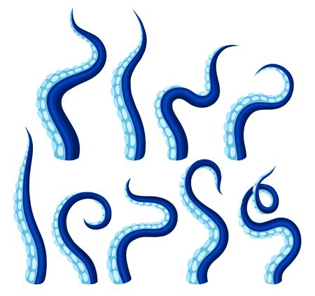 Tentacules bleus d'une pieuvre. Illustration vectorielle sur fond blanc.