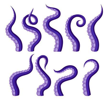 Set di polpo tentacoli viola. Illustrazione vettoriale su sfondo bianco. Vettoriali