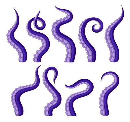 Set of purple tentacles octopus. Vector illustration on white background.