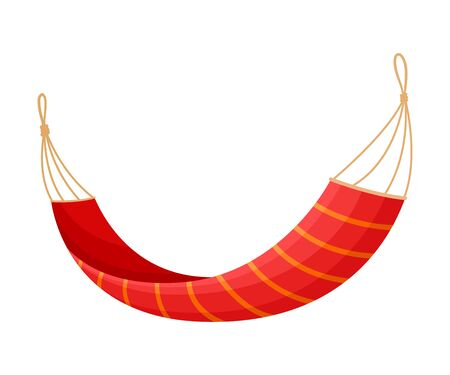 Red hammock on a clothesline with knots at the ends. Vector illustration on white background.