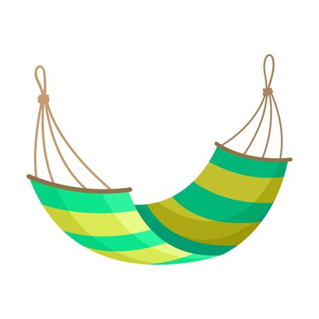 Yellow-green striped hammock on the ropes. Vector illustration on white background.