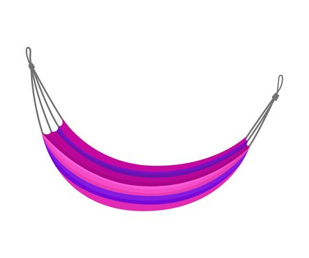 Purple hammock with blue stripes. Vector illustration on white background.