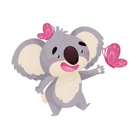 Koala cartoon playing with pink butterflies. One butterfly sits on the head. Vector illustration on white background.