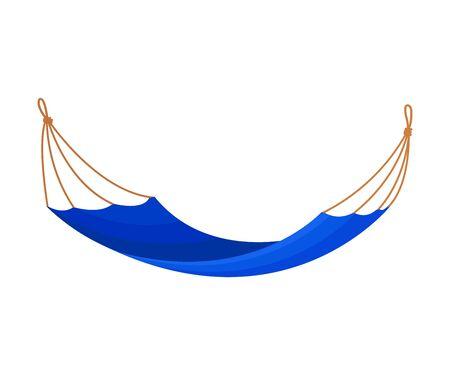 Blue hammock on a clothesline. Vector illustration on white background.