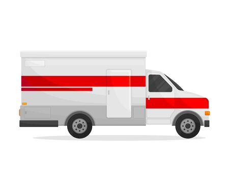 Medical white van with a wide red stripe in the middle. Side view. Vector illustration on white background. Иллюстрация