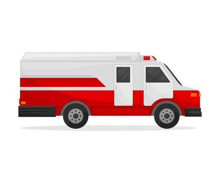 Medical white van with flashing lights and a red bottom. Side view. Vector illustration on white background. Иллюстрация