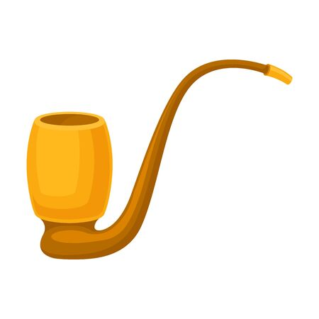 Gold-plated smoking pipe with a high arc-shaped mouthpiece. Vector illustration on white background. Иллюстрация