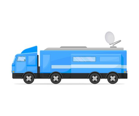 Blue tv van with gray roof and round antenna. Vector illustration on white background.