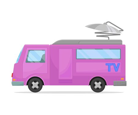 Purple TV minivan with a gray roof. Vector illustration on white background.