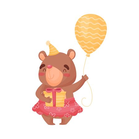 Little girl, a bear in a pink skirt and orange hat, holds a striped balloon and a gift with a bow. Vector illustration on white background. Иллюстрация