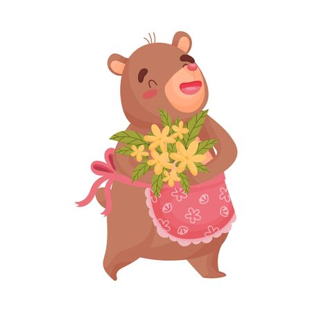 Adult mother a bear in a pink apron with a wavy edge holds with a bouquet of yellow flowers. Vector illustration on white background. Illustration