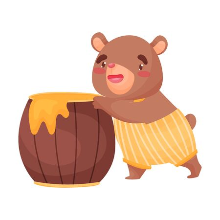 Cute little bear is standing next to a barrel of honey. Vector illustration on white background.