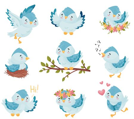 Cartoons blue birds on a branch, in a nest, sings, flies, greets. Vector illustration on white background.