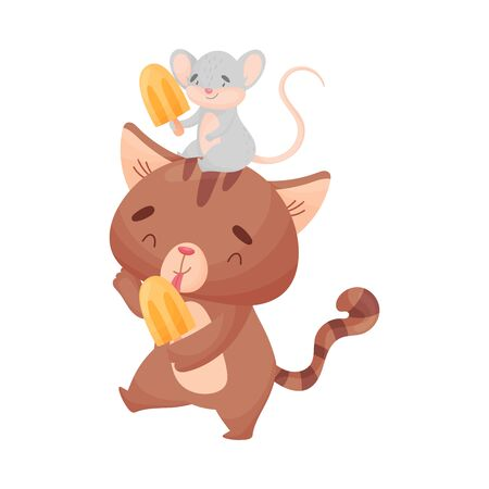 Cute friendly cat and mouse eat ice cream. Vector illustration on white background. Ilustração
