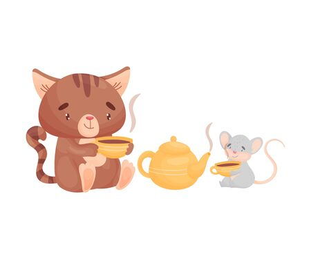 Cartoon cat and mouse sit near the yellow kettle and drink tea from striped mugs. Vector illustration on white background. Иллюстрация