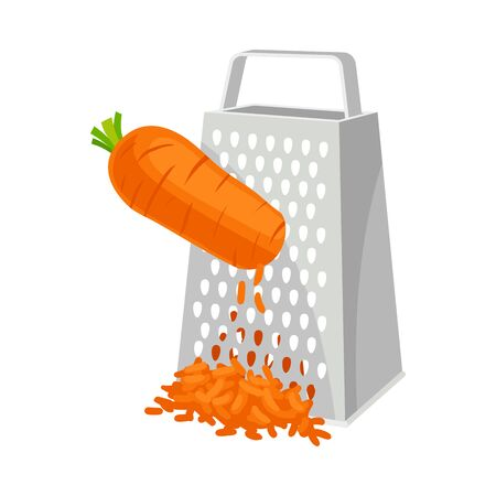 Carrots rubbed on a grater. Vector illustration on white background.