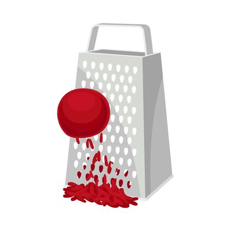 Beet rubbed on a grater. Vector illustration on white background. Ilustração