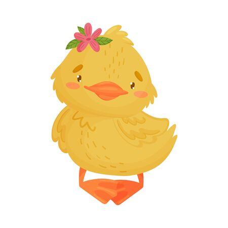 Cute yellow duckling girl standing. Vector illustration on a white background. Ilustração
