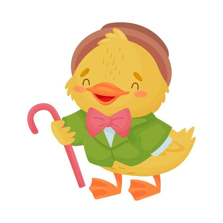 Cute yellow duckling gentleman. Vector illustration on white background. Ilustração