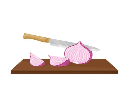 Knife cuts purple onions. Vector illustration on a white background. Ilustração