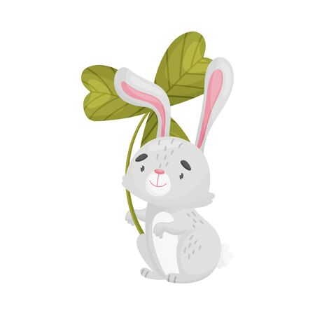 Cartoon hare with clover. Vector illustration on white background.