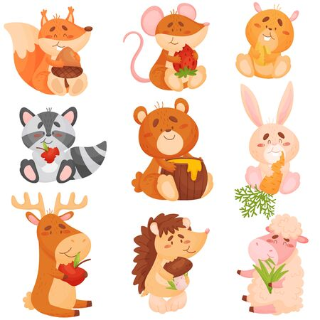 Set of cartoon animals eating different fruits. Vector illustration on white background.