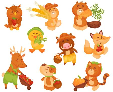 Set of cute animals with the harvest. Vector illustration on white background. Ilustração