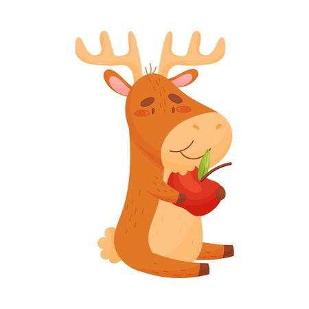 Cartoon elk eating an apple. Vector illustration on white background.