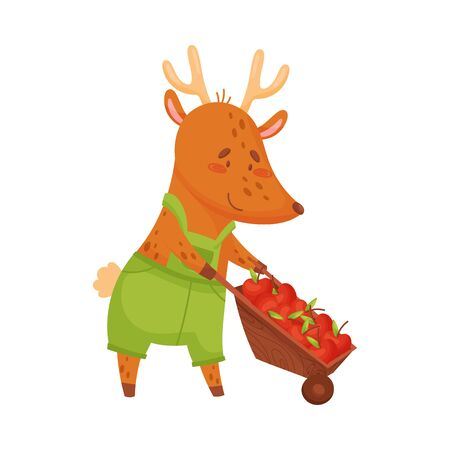 Cartoon deer rolls a wheelbarrow with apples. Vector illustration on white background.