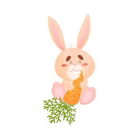 Cartoon hare eat carrots. Vector illustration on white background.