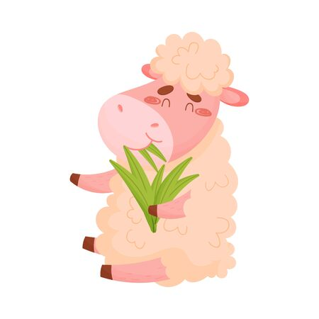 Cartoon sheep eats grass. Vector illustration on white background. Ilustração