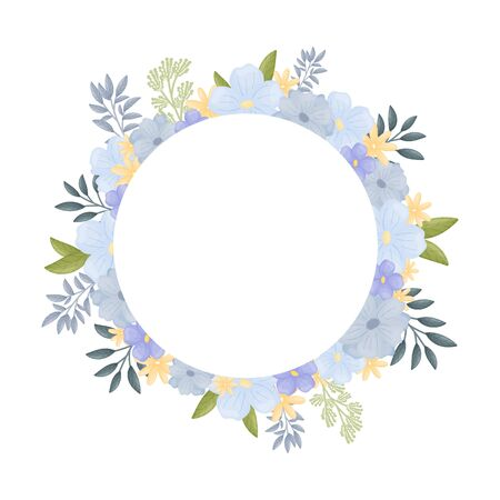 Round frame inside a flower arrangement. Vector illustration on a white background.