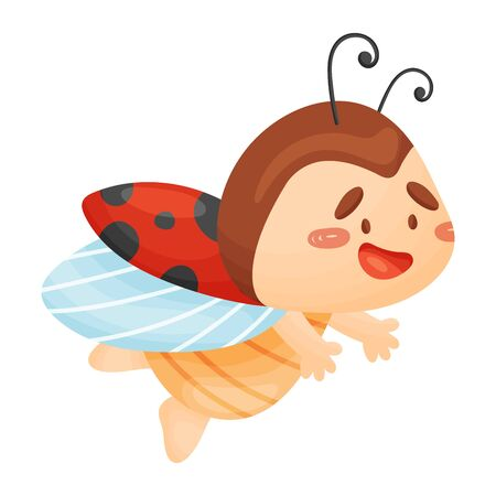Cute ladybug is flying. Vector illustration on a white background.