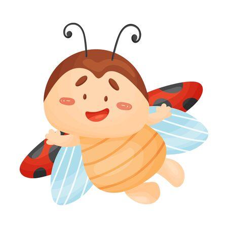 Cartoon ladybug is flying. Vector illustration on a white background. Banco de Imagens - 129229797