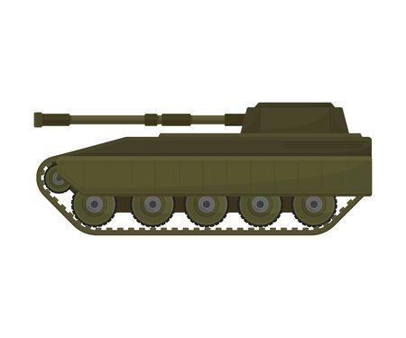 Tank with a long barrel. Vector illustration on a white background. Stock Illustratie