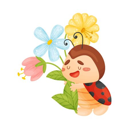 Cute ladybug with a bouquet. Vector illustration on a white background.