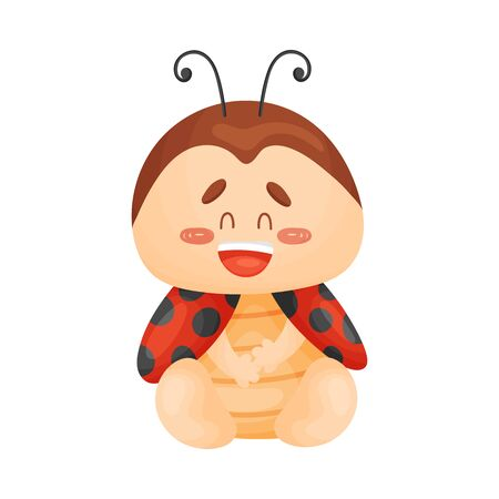 Cute ladybug laughing. Vector illustration on a white background. Banco de Imagens - 129229801