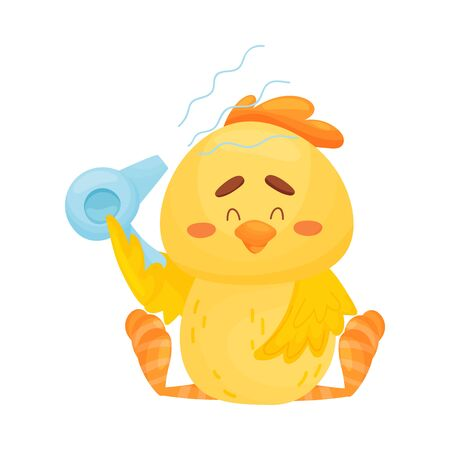 Cartoon chicken is dried by a hairdryer. Vector illustration on a white background.