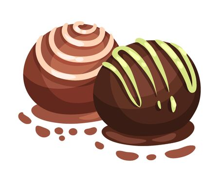 Chocolates in the shape of a ball. Vector illustration on a white background.