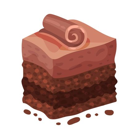 Piece of multi-layer cake. Vector illustration on a white background.