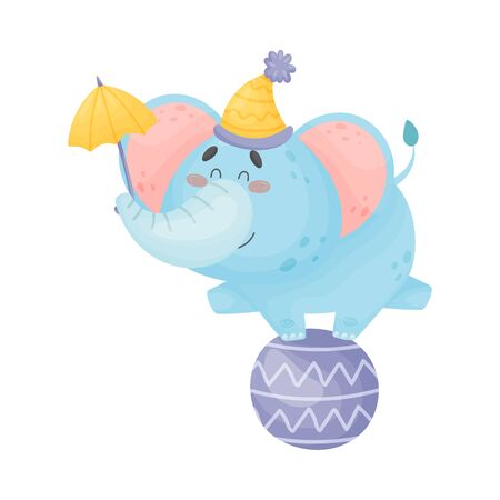 Cartoon elephant stands on a large ball. Vector illustration on a white background. Banco de Imagens - 129229812