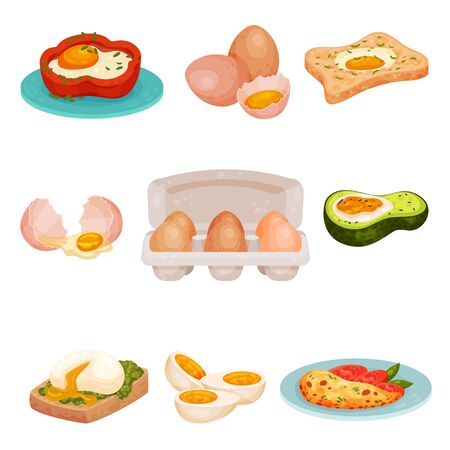 Set of different egg dishes. Raw, boiled and fried, baked eggs. Vector illustration on a white background. Иллюстрация