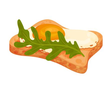 Fried egg and a green leaf lie on a piece of bread. Vector illustration on a white background.