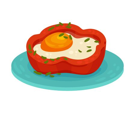 Fried egg with sweet pepper. Vector illustration on a white background.